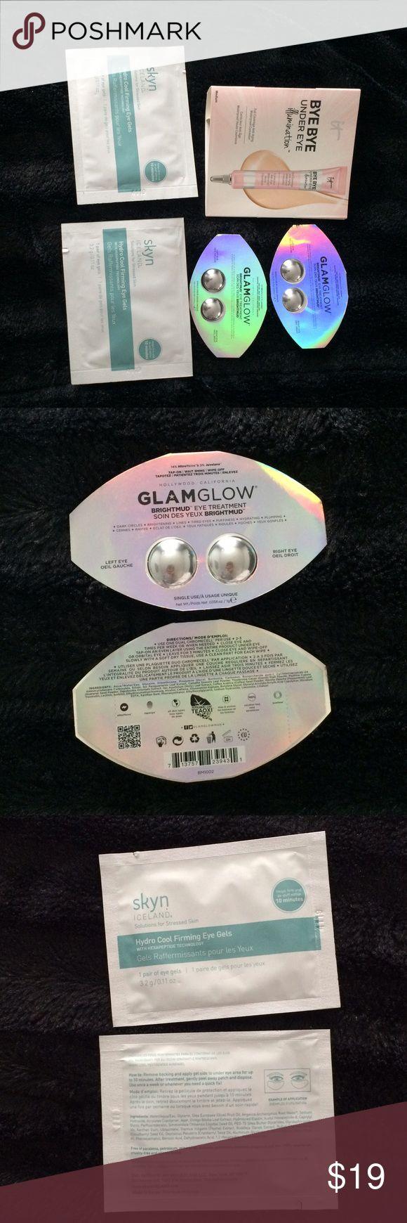 ‼️last price‼️5 luxury eye products 2 Glam Glow brightmud eye treatments, dark circles, brightening,tired eyes, puffiness, hydrating, plumping,✅ 2 skin Iceland hydro cool firming eye gel, ✅ 1 Bye bye under eye illumination, full coverage anti-aging waterproof concealer , hydrolyzed collagen ,peptides , hyaluronic acid, antioxidants, .... ✅ make me offer✅ Makeup Eye Primer