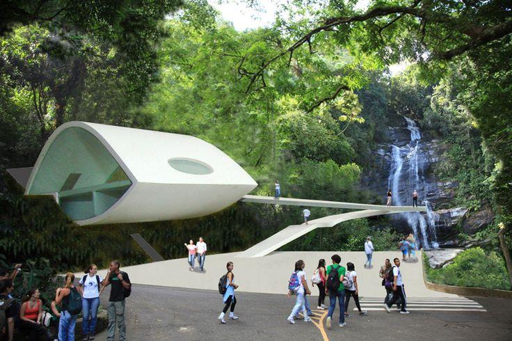 Projeto: Centro de visitante da Floresta da Tijuca / Rio de Janeiro / RJ / Brasil - Autor: Arquiteto Oscar Niemeyer   com parceria de Caique Niemeyer - Maquete e foto: Gilberto Antunes - Escala: 1/100