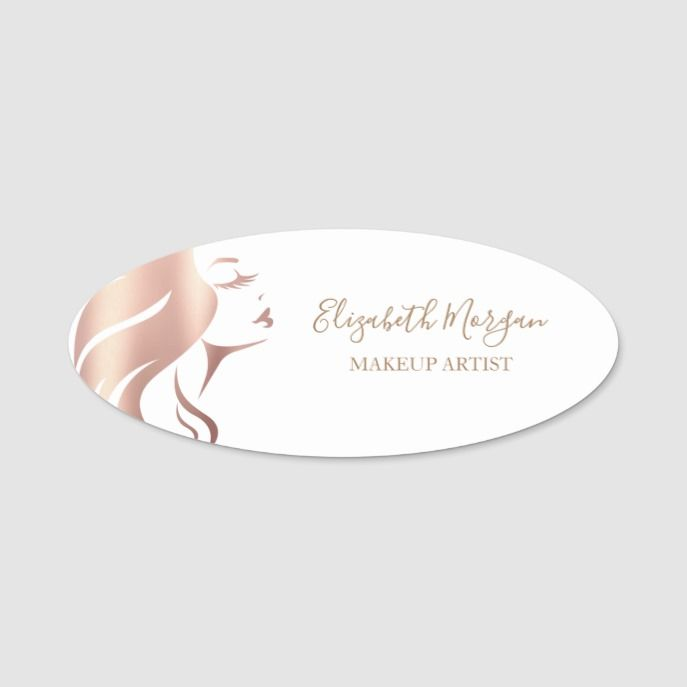 Elegant White Girl Face Silhouette Makeup Artist Name Tag Zazzle Com Makeup Artist Names Girl Face Artist Names