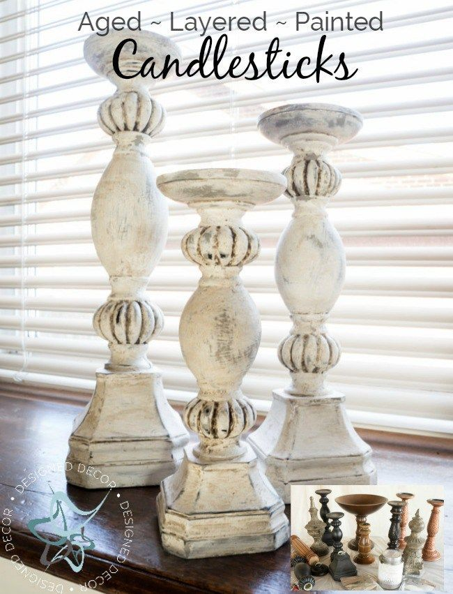 This is an easy diy-aged-layered-painted-candlesticks tutorial - www.designeddecor.com