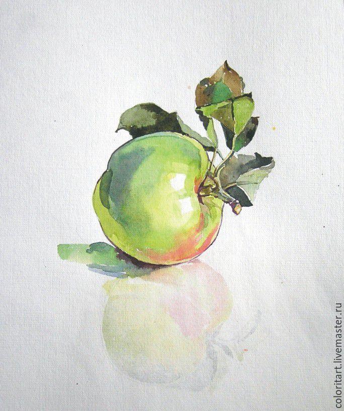 Купить Яблочко акварель - зеленый, яблоко, акварель, акварельная картина…