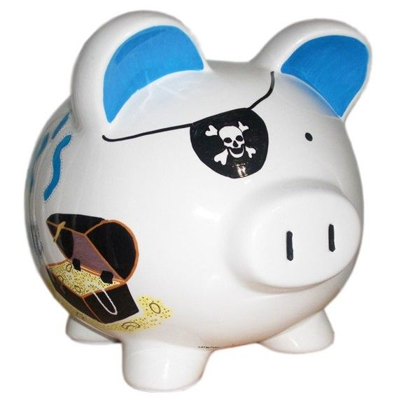 Personalized Hand Painted PIGGY BANK - Design Piggy Bank Finding the Pirate's Treasure. $31.50, via Etsy.