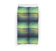 Coastal shoreline in surreal green blue Hasselblad medium format film analog photograph Duvet Cover