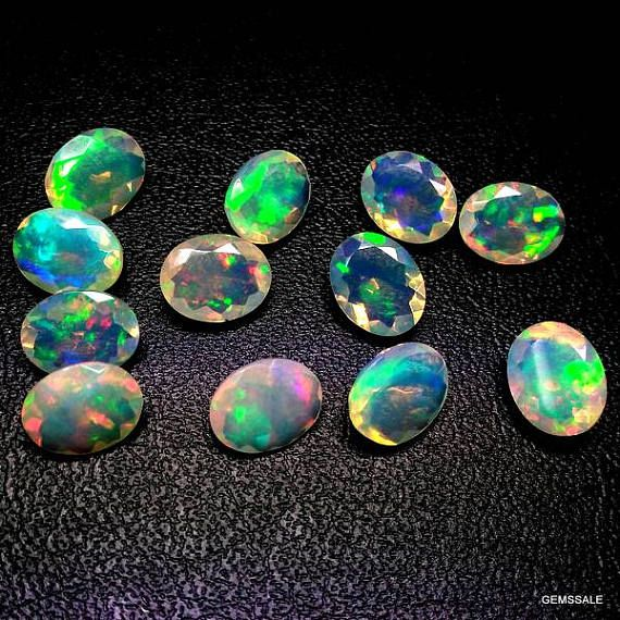 5 pcs 5x7mm Ethiopian Opal Faceted Oval Loose Gemstone