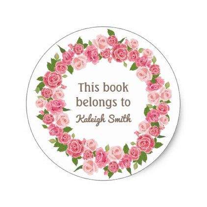 Pink Floral Wreath On White Book Name Plate Classic Round Sticker