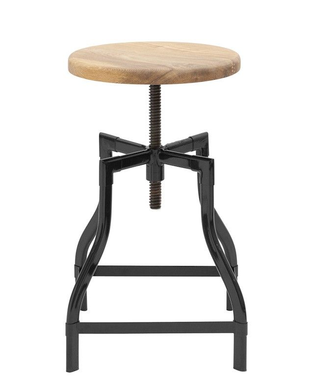 Replica Turner Industrial Stool - Height Adjustable --  The wooden seat can be adjusted from 47cm to a maximum 68cm high. Normally $139 - On Sale for $99