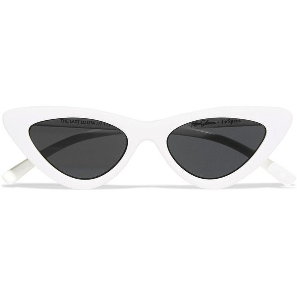 Le Specs + Adam Selman The Last Lolita cat-eye acetate sunglasses ($120) ❤ liked on Polyvore featuring accessories, eyewear, sunglasses, white, white cateye sunglasses, white cat eye glasses, le specs sunglasses, cat-eye glasses and white glasses
