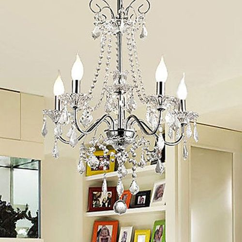 200W Luxury Crystal Modern Chandelier with 5 Lights in Candle Feature – lights for apartments