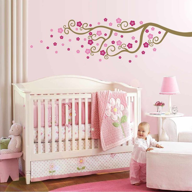 Pink Design Children Room With Flower Wall Painting Ideas. Moderne ...