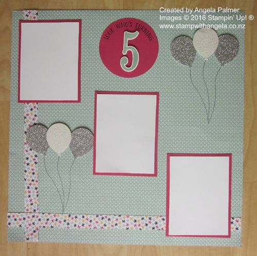 Number of Years and Balloon Celebration Scrapbook page, balloon scrapbook page