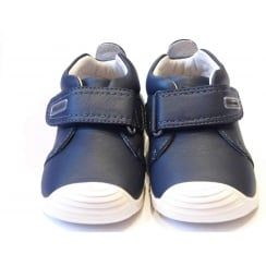 Boys Navy Soft Leather Shoes With Flexible Sole & Scuff Protection from Biomechanics | 162140