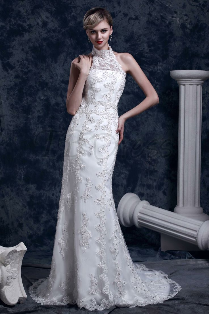Gorgeous Trumpet/Mermaid High-Neck Chapel Dasha's Lace Wedding Dress