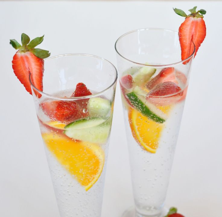sparkling water infused with cucumber, orange and strawberry