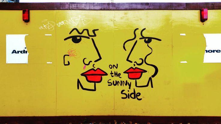 On the sunny side somewhere in #shoreditch.  #graffiti #art #streetart #London #redlips #yellow #sunny #construction #urbanart #urban