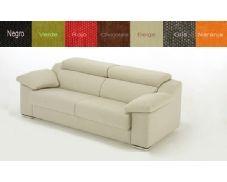 Prático sofá tres plazas tapizado en tela. Este sofá incluye cabezales reclinables para garantizarle una máxima comodidad y relax. Además, puede elegir el color apropiado para su decoración gracias a su amplia gama de colores.