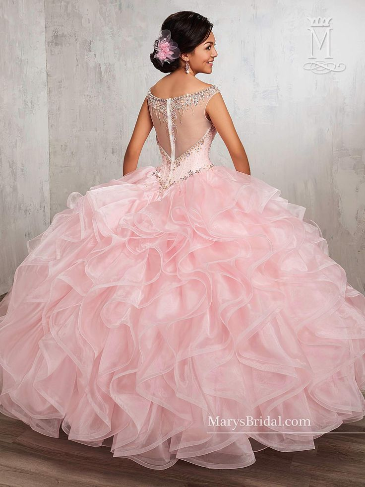 Illusion Ruffled Quinceanera Dress by Mary's Bridal