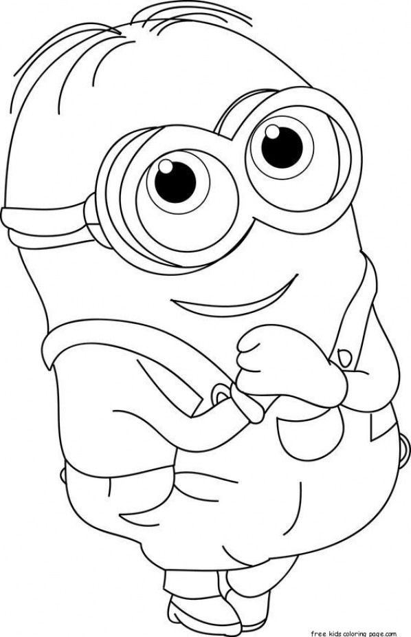 Printable The Minions Dave Coloring Page For Kids Free Online