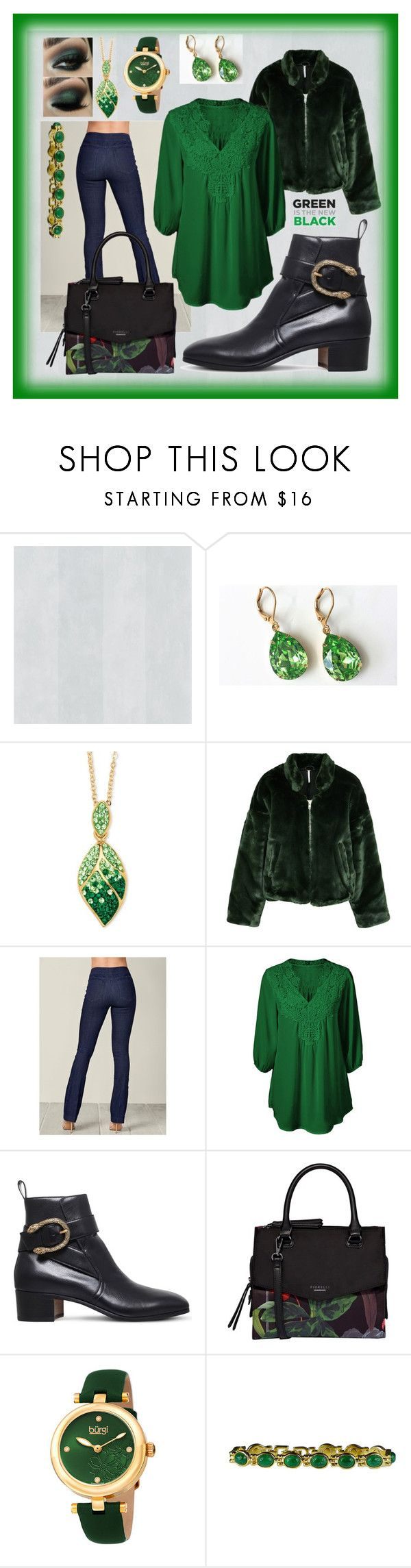 """""""Green And Black 😍"""" by aurorasblueheaven ❤ liked on Polyvore featuring Palm Beach Jewelry, Free People, Venus, Gucci, Fiorelli, bürgi and BillyTheTree"""