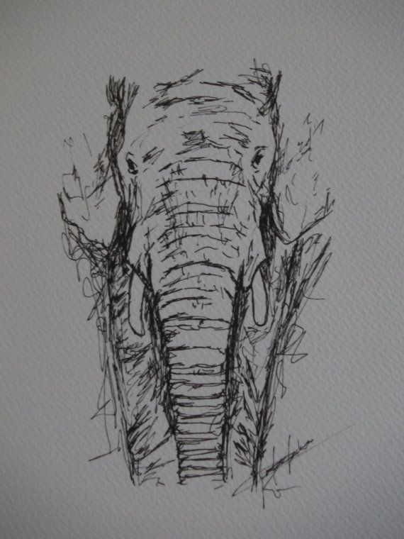 Elephant pen drawing - Original animal drawing 10 x 7 inches - black and white - Elephant art - abstract