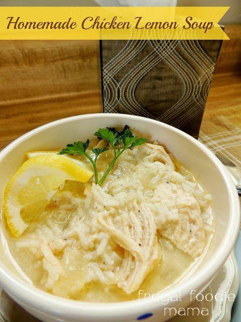 Homemade Chicken Lemon Soup via thefrugalfoodiemama.com #chickensoup #avgolemono #chickenlemon