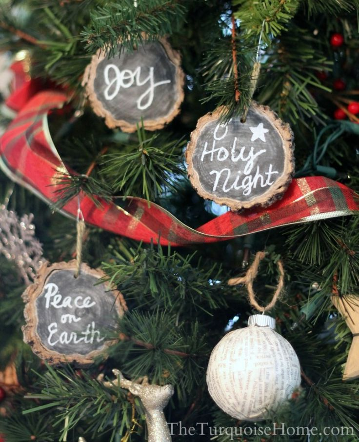 Diy Country Christmas Tree Decorations : Chalkboard wood slice ornaments chalkboards