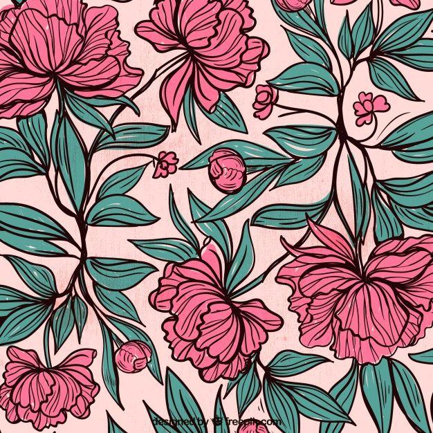 Fondo de flores y hojas dibujadas a mano  Vector Gratis