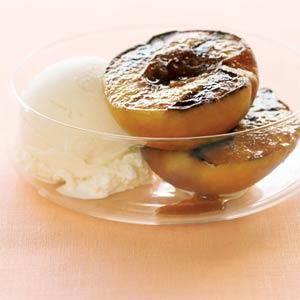 Grilled Peaches with Vanilla Ice Cream Recipe   MyRecipes.com