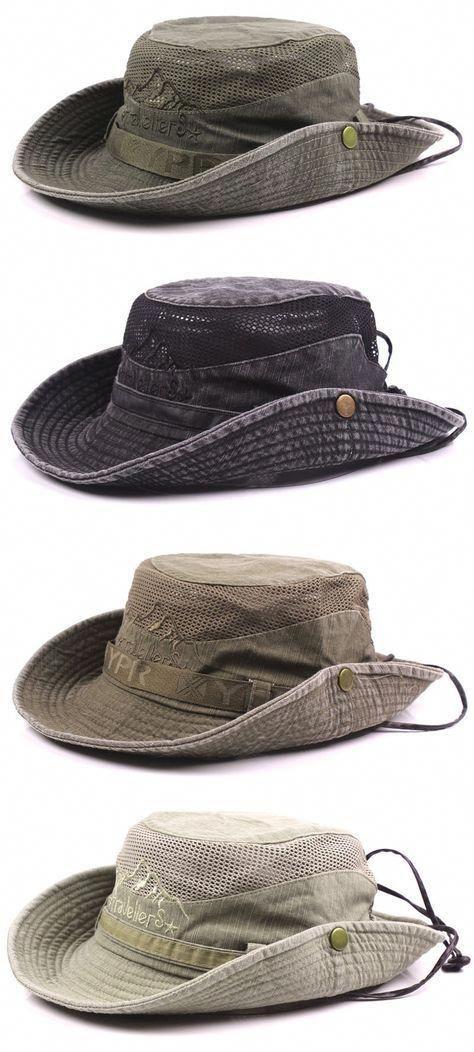 fb3ff67f5672f Mens Summer Cotton Embroidery Visor Bucket Hats Fisherman Hat Outdoor  Climbing Mesh Sunshade Cap  MensFashionSummer