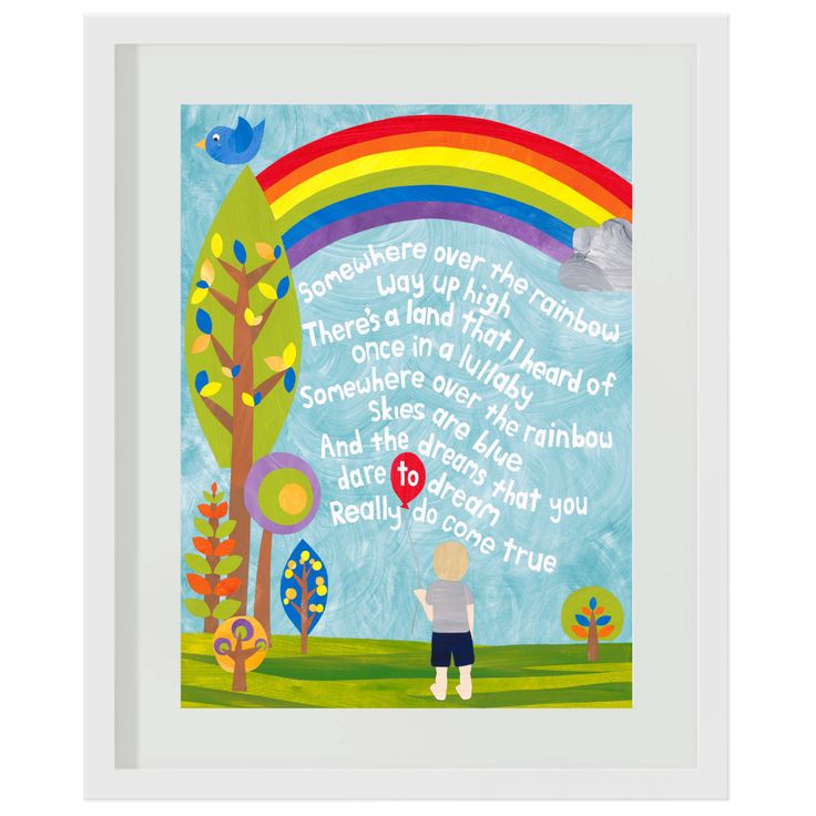 Art Print for Kids, Kid's wall art, Nursery wall art, Children's Bedroom Decor: Somewhere Over the Rainbow by SarahTamblynDesigns on Etsy