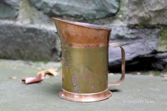 Rustic Copper Brass Water Pitcher. Vintage. by NorthMajestyTrail