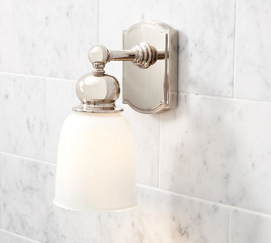 Covington hotel single sconce pottery barn bathroom for Bathroom 4 less review