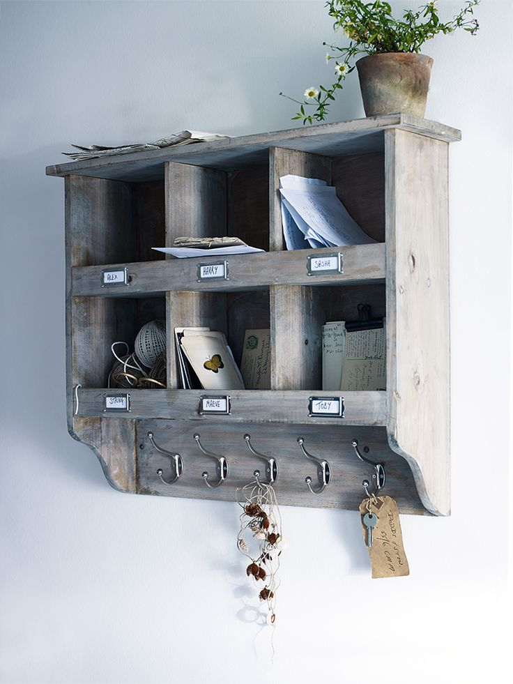 Wooden Box Unit With Hooks