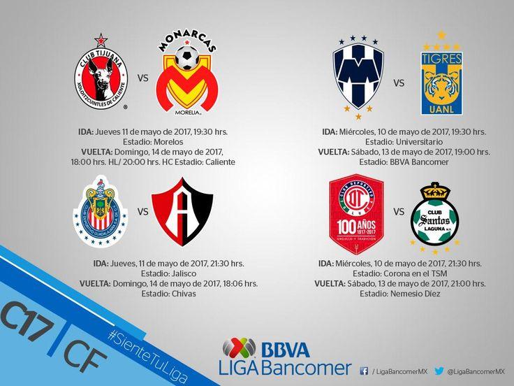 DEFINEN HORARIOS DE CUARTOS DE FINAL DEL CLAUSURA 2017La Liga MX da a conocer días y horas en que se jugarán los partidos. Las acciones terminan el próximo 14 de mayo.