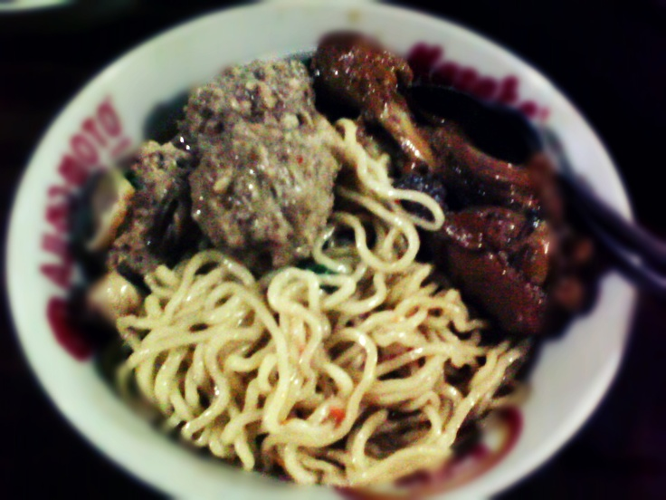 The Popular food in Indonesia - Chicken Noodles with Meatballs