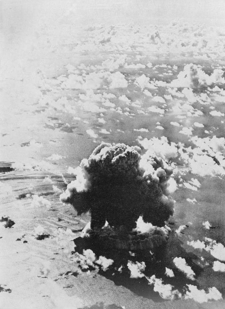 Disintegration of a Colossus. Atomic bomb explosion at Bikini Atoll, Operation Crossroads. Photograph of image taken October 3, 1950  National Archives Identifier:22118346