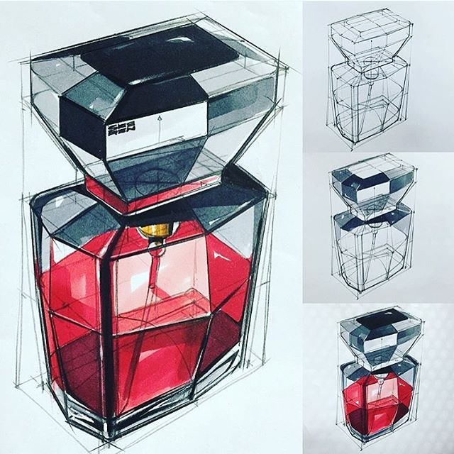 Credit: @sangwonseok Stages of a structured sketch render. If you like marker renders and you haven't followed her already I suggest you do..#everydaydesignuk #sketchbook #markerrender #sketchpractice #copic #packagingdesign #fragrant #iD #idsketch #concept #perfume #bottledesign