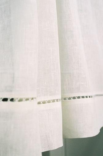 Pretty edged linen curtain