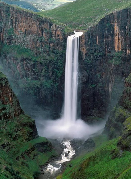 A point of pride - Maletsunyane Falls, the highest single drop in Southern #Africa and world's highest #abseil at 204m. ♥ #Drakensberg