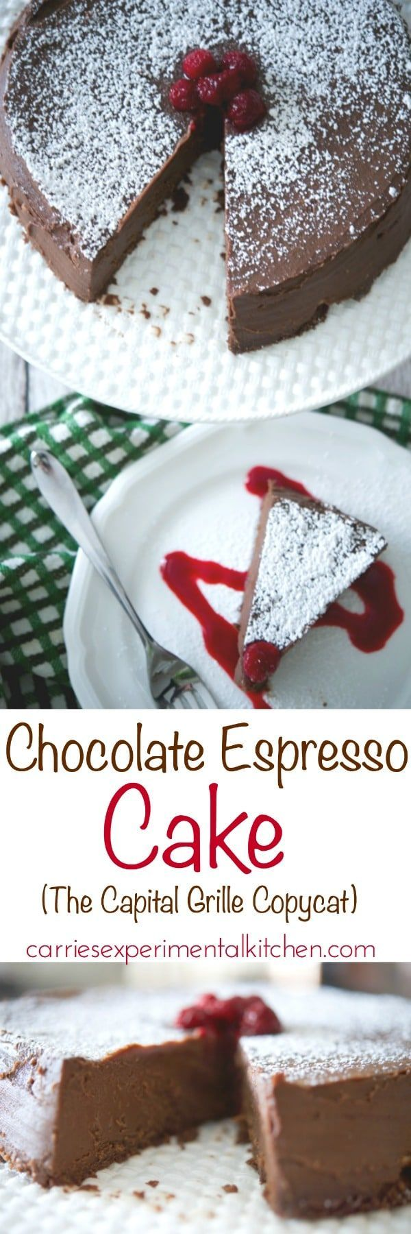 The Capital Grille's Chocolate Espresso Cake is a flourless, decadently rich, chocolatey dessert made with semi sweet chocolate and espresso served with raspberry sauce. #cake #dessert #chocolate #glutenfree #copycatrecipe