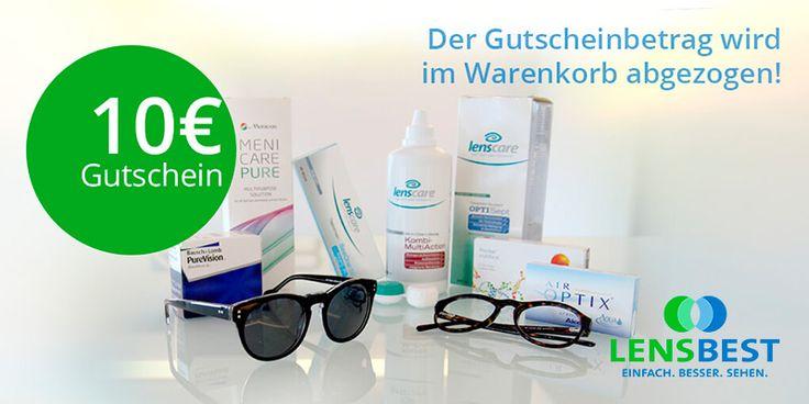 10 € Lensbest Gutschein für Kontaktlinsen, Pfelegemittel und Zubehör