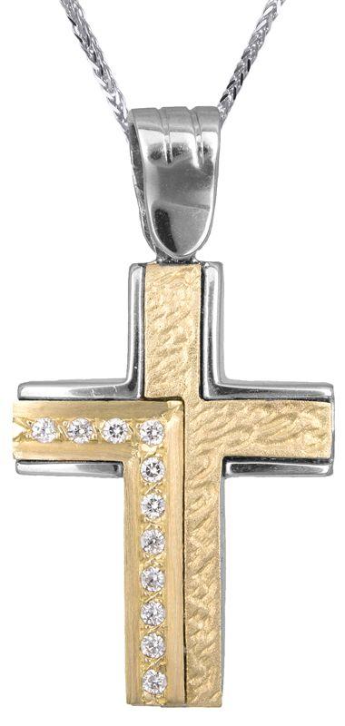 Γυναικείος σταυρός διπλής όψης Κ14 C002226