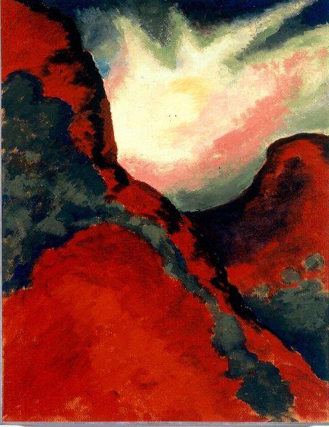 Georgia O'Keeffe. Red Landscape, 1916. Oil on board. (Palo Duro Canyon)