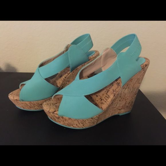 Must Have Size 8.5 wedges Never been worn teal wedges -->GREAT for SUMMER<-- Shoes Wedges