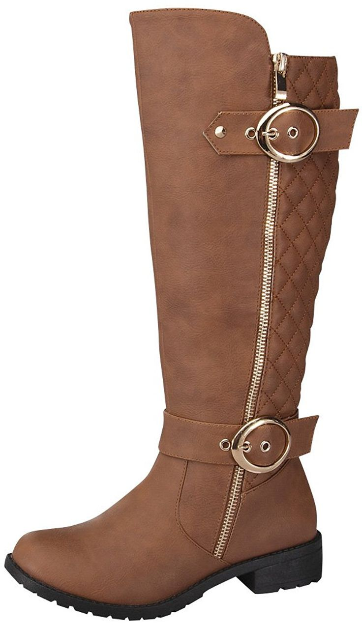 Top Moda Women's Paper-33 Knee-High Quilted Leather Buckle Zip Riding Boot >>> You can get additional details at the image link.