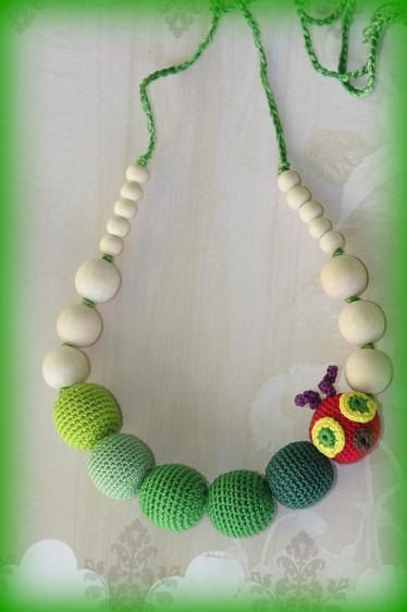 Green Caterpillar nursing necklace Green Teething by ForeverValues