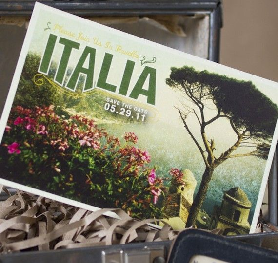 Vintage Travel Postcard Save the Date (Italy) - Design Fee on Etsy, $30.00