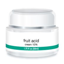 Cosmetic Solutions' Fruit Acid Cream Exfoliator. Created with a blend of Glycolic, Lactic  Pyruvic acids, Fruit Acid Cream effectively removes the outer layers of thickened or damaged skin, improving texture and tone while revealing noticeably smoother, healthier skin.