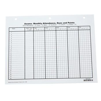 Monthly attendance sheets pkg 25 Sparks Attendance