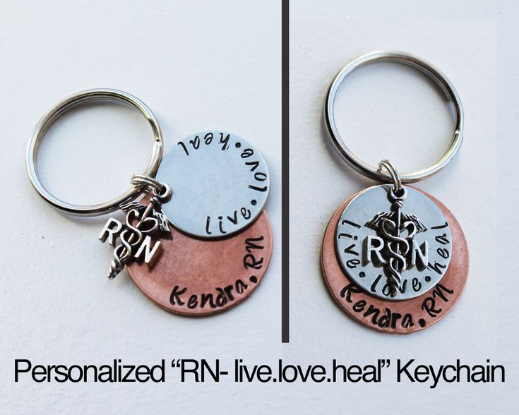 "Personalized RN keychain with ""live. love. heal."" charm.  RN. Nurse Gift. Nursing Graduation Gift. Registered Nurse, personalized nurse gift by JewelryImpressions on Etsy"