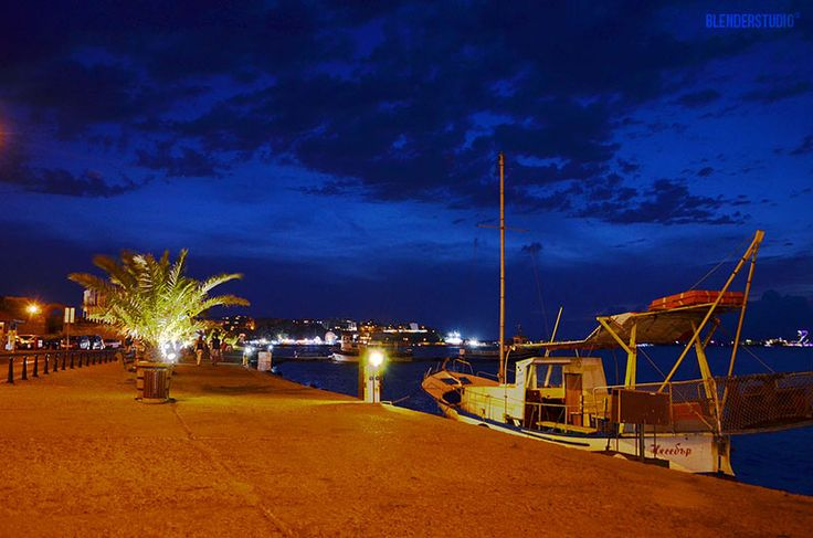 Night view from the Old Town of Nessebar docks, Bulgaria
